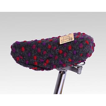 Bicycle saddle cover wool dots anthracite 20/30 cm