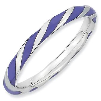 Sterling Silver Twisted Purple Enameled 2.4 x 2.0mm Stackable Ring - Ring Size: 5 to 10