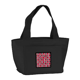 Letter T Football Crimson and White Lunch Bag