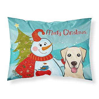 Snowman with Golden Retriever Fabric Standard Pillowcase