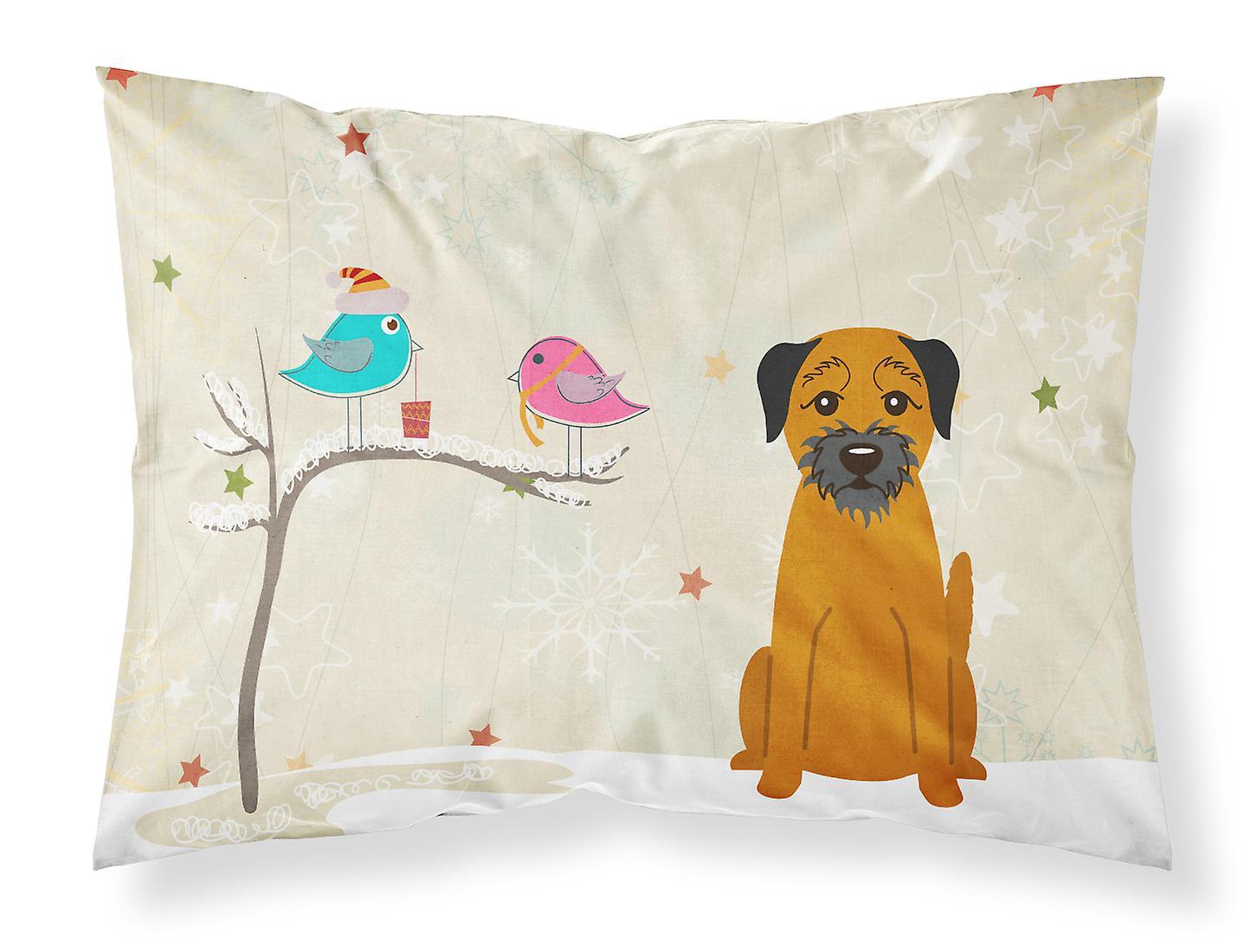 Amis D'oreiller Terrier Cadeaux Standard Border Noël Entre De Tissu Taie RAjL3q54