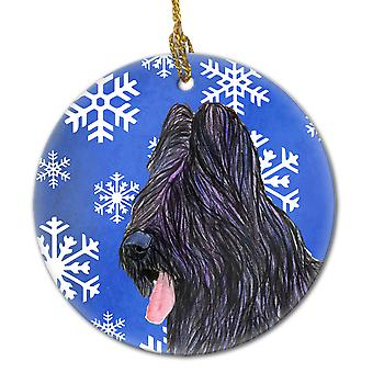 Briard Winter Snowflakes Holiday Christmas Ceramic Ornament SS4627