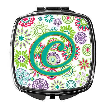 Letter C Flowers Pink Teal Green Initial Compact Mirror