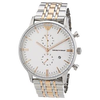 Emporio Armani AR0399 Silver Gold Stainless Steel Strap White Dial Chronograph Watch