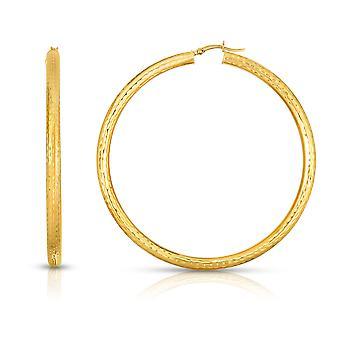 10k Fine Yellow Gold Diamond Cut Hoop Earrings  4mm (0.16
