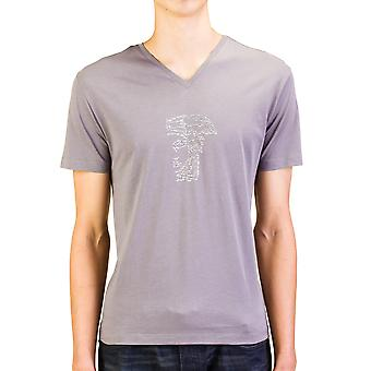 Versace Collection Men Studded Medusa Head V-Neck T-Shirt Grey