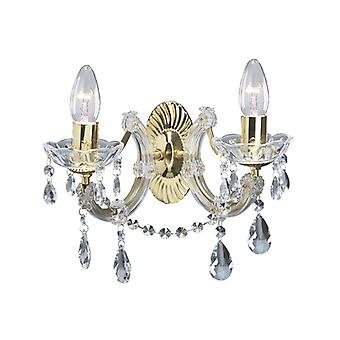 2 Light Polished Brass Marie Therese Crtystal Wall Bracket - Searchlight 699-2