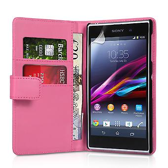 Yousave Accessories Sony Xperia Z1 Leather-Effect Wallet - Hot Pink