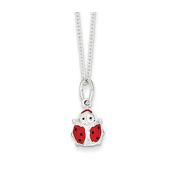 Sterling Silver 14 Inch Ladybug Necklace