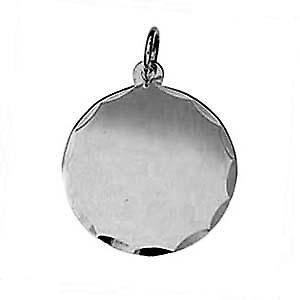 Silver 20mm round diamond cut edge Disc