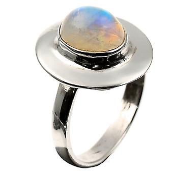 Silver Blue Fire Moonstone Inset Ring