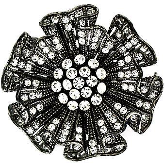 Brocher butik antik sølv & Swarovski krystal Stokrose broche