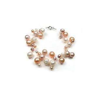 Bracelet woman 3 ranks Invisible nylon and freshwater cultured pearls multicoloured and silver