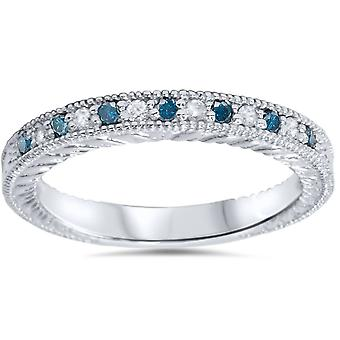 1/6ct Blue & White Diamond Vintage Wedding Ring 14K White Gold