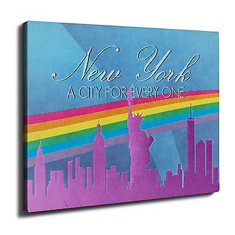 Pride Love Urban New York Wall Art Canvas 50cm x 30cm | Wellcoda