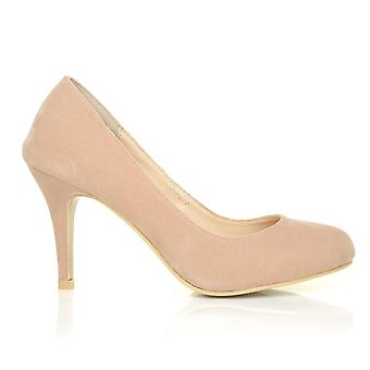 PEARL Nude Faux Suede Stiletto High Heel Classic Court Shoes