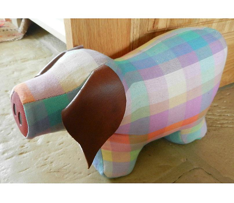 Elma Check Pig Doorstop by Monica Richards