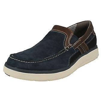 Mens Clarks Casual Slip på sko Un bolig gratis - lette Tan skinn - UK Size 7G - EU størrelse 41 - USA størrelse 8M
