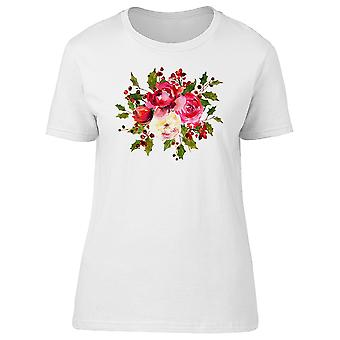 Holly Bouquet Red Berries Tee Women's -Image by Shutterstock