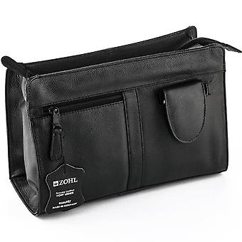 ZOHL Leather Travel Shaving Bag With 4Pc Manicure Set