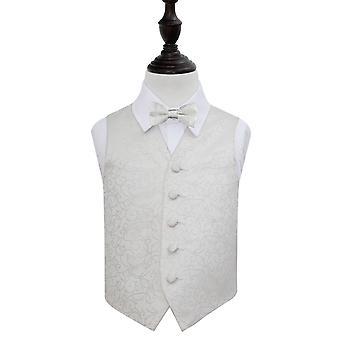 Gilet de mariage Ivoire Swirl & ensemble de noeud de cravate pour les garçons