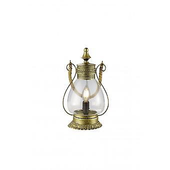 Trio Lighting Linda Vintage Old Brass Metal Table Lamp