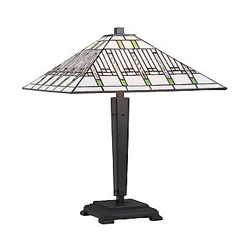 Interiors 1900 Mission 2 Light Tiffany Table Lamp With Art Deco