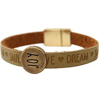 Gemshine - Damen - Armband - Joy - Happy - WISHES - Braun - Sand - Magnetverschluss
