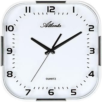 Atlanta 4455/19 wall clock quartz analogue white silver with glass quietly without ticking