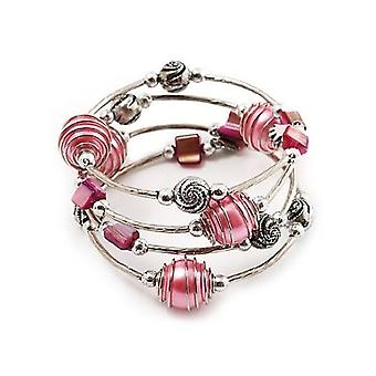 Silver Tone Beaded Multistrand Flex Bracelet - Light Pink