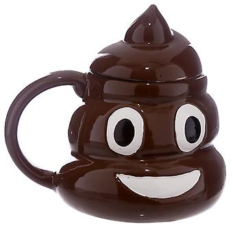 Emoticon Cup poop k cluster with cover Brown, hand-painted, made of 100% ceramic, capacity approx. 450 ml.