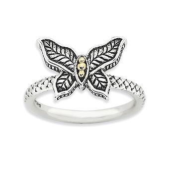 2.5mm Sterling Silver Polished Antique finish and 14k Stackable Expressions Antiqued Ring - Ring Size: 5 to 10