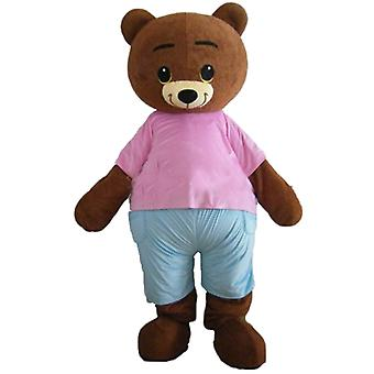 mascot SPOTSOUND of little bear Brown, Brown, with a pink and blue outfit