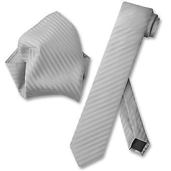 Vesuvio Napoli dünne Krawatte gestreift Längsstreifen Herren Krawatte & Taschentuch
