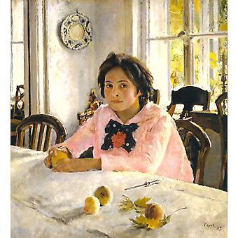 Menina com pêssegos, Valentin Aleksandrovich Serov, 50x50cm