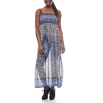 BOYSEN'S loose ladies Maxi dress holiday dress with Alloverdruck Blau
