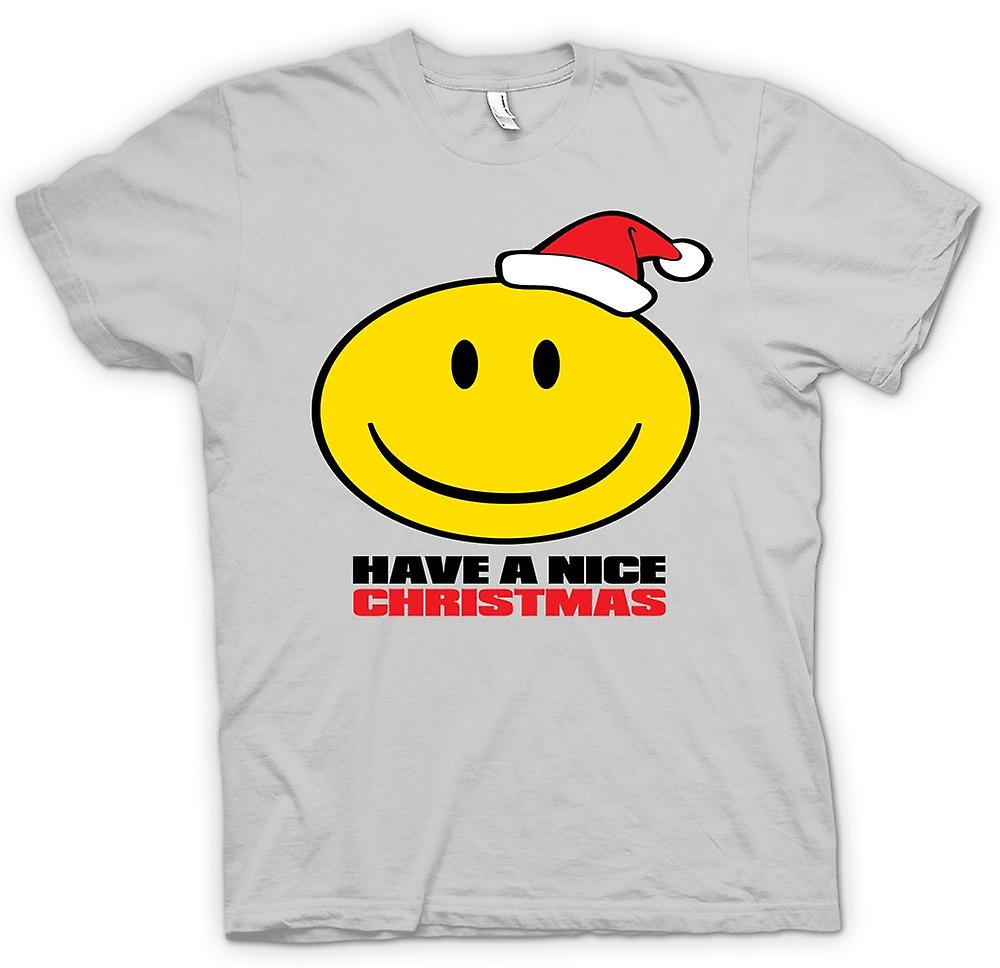 Mens T-shirt - Smiley Face, Have A Nice Christmas