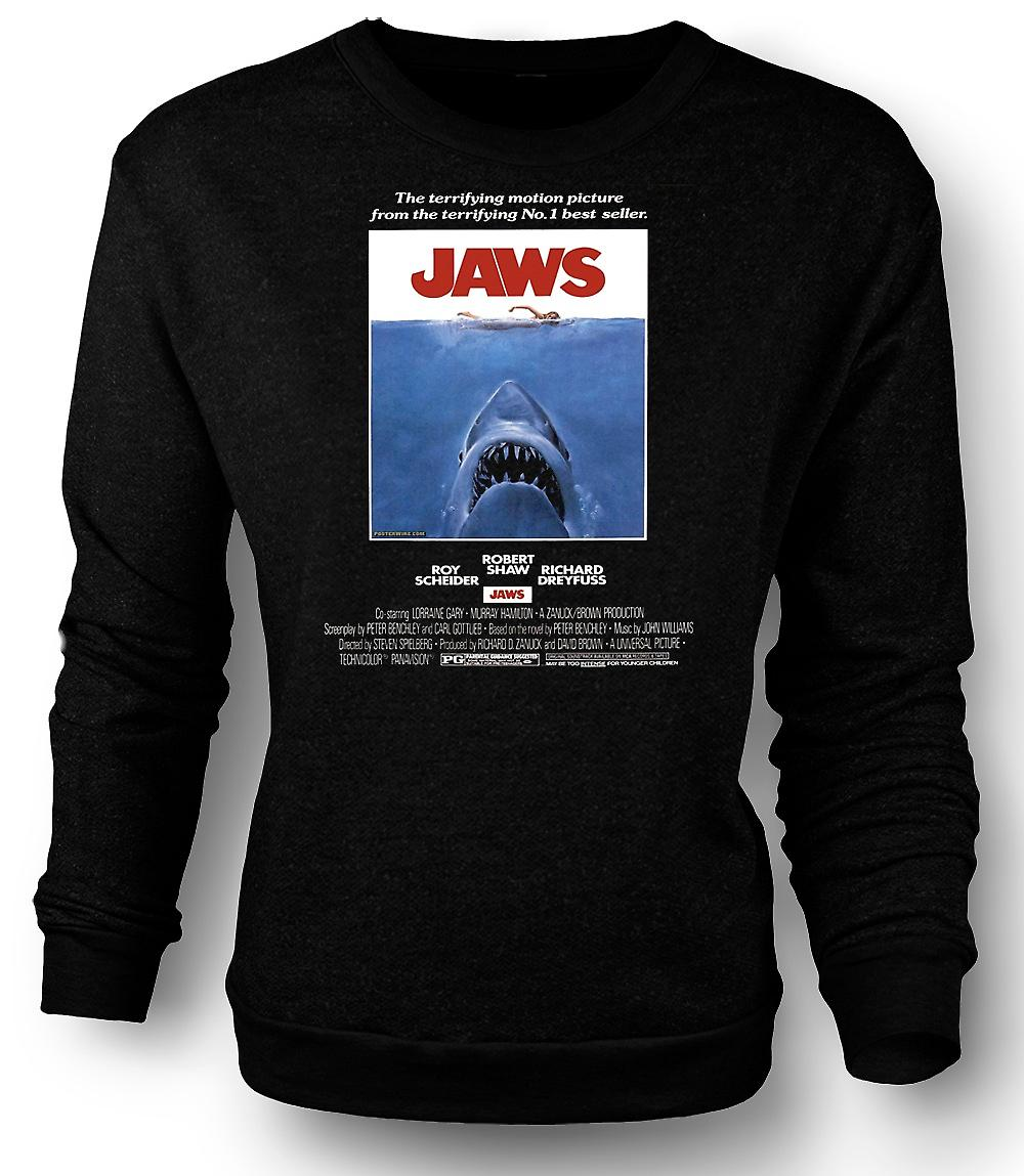Mens Sweatshirt Jaws - Horror - Shark - B Movie - Poster