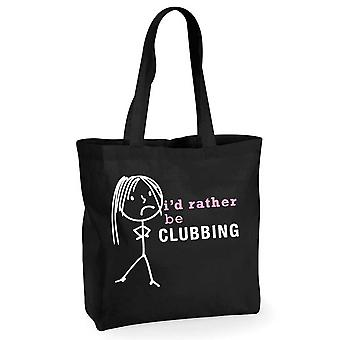 Ladies I'd Rather Be Clubbing Black Cotton Shopping Bag