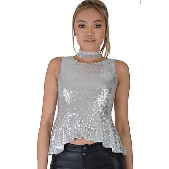 Lovemystyle All Over Silver Sequin Peplum Top