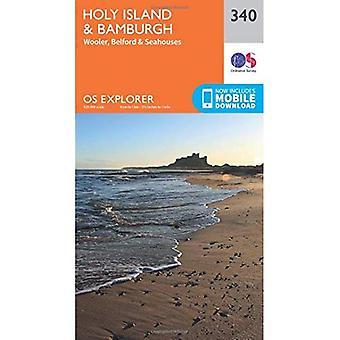 OS Explorer Map (340) Holy Island and Bamburgh