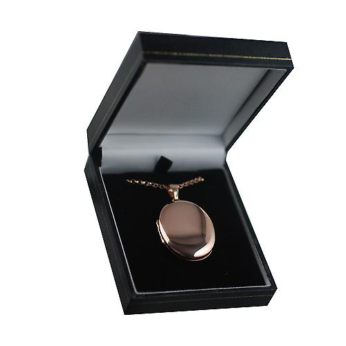 9ct Rose Gold 35x26mm plain oval Locket with a belcher Chain 16 inches Only Suitable for Children