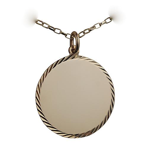 9ct Gold 26mm diamond cut edge round Disc with a belcher Chain 16 inches Only Suitable for Children