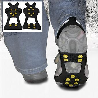 Large - Ice Traction Universal Slip-on Stretch Fit Snow & Ice Spikes (Grips Crampons Cleats) - 10 Studs - Large