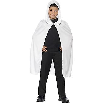 Hooded Cape, White, Long Fancy Dress Accessory