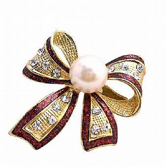 Rød kontur skinnende gull belagt hvitt kultivert Pearl & CZ bue brosje Pin