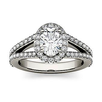 14K White Gold Moissanite by Charles & Colvard 7x5mm Oval Engagement Ring, 1.54cttw DEW