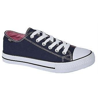 Ladies Womens Canvas Shoes 6 Eye Lace Up Plimsoll Lightweight Trainers