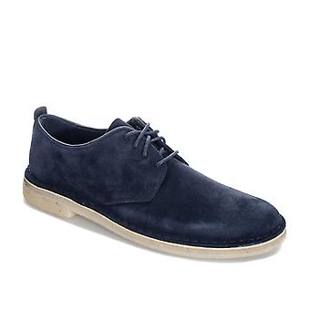 Mens Clarks Originals Desert London Suede Shoes In Midnight- Lace Fastening- Low