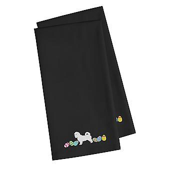 Maltese Easter Black Embroidered Kitchen Towel Set of 2